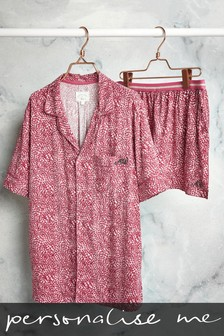 Pink Heart Print Personalised Button Through Short Pyjama Set