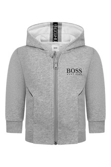 Baby Boys Grey Logo Zip-Up Top