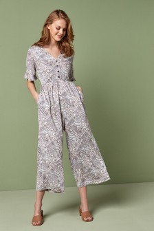 Cream Paisley Pattern Crinkle Jumpsuit