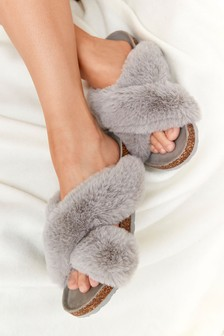 Grey Crossover Cork Faux Fur Slider Slippers