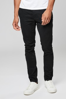 Black Skinny Fit Stretch Chino Trousers
