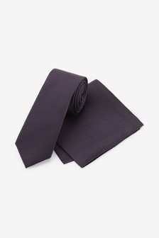 Purple Slim Silk Tie And Pocket Square Set