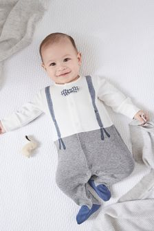 Grey/White Smart Dress Up Sleepsuit (0mths-2yrs)