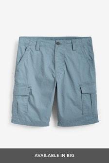 Blue Cotton Cargo Shorts