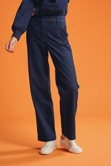 Dark Blue Smart Jersey Denim Wide Leg Trousers