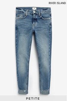 River Island Petite Denim Medium Amelie Mid Rise Ripped Mars Jeans