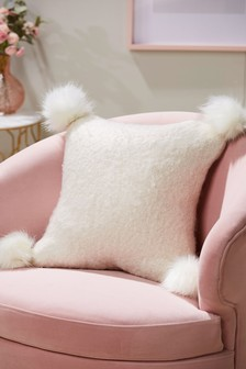 Faux Fur Pom Knit Cushion