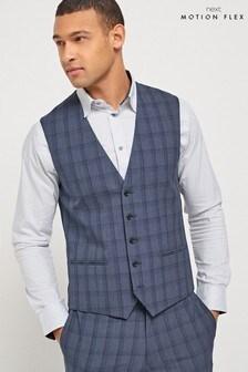 Navy Waistcoat Check Motion Flex Slim Fit Suit