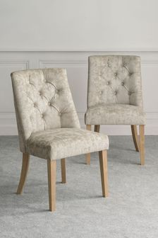 Distressed Velour Silver Set of 2 Wolton Button Dining Chairs With Natural Legs