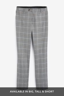 Light Grey/Tan Regular Fit Check Suit: Trousers