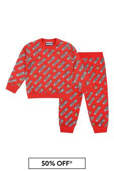 Baby Red Cotton Logo Tracksuit