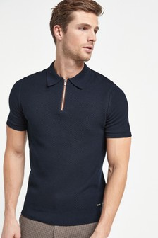 Navy Bubble Textured Knitted Polo Shirt