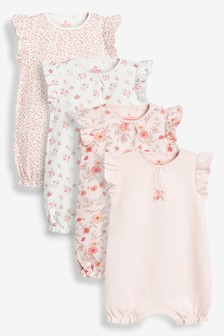 Pink 4 Pack Floral Rompers (0mths-3yrs)