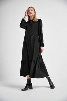 Black Pan Collar Tiered Dress