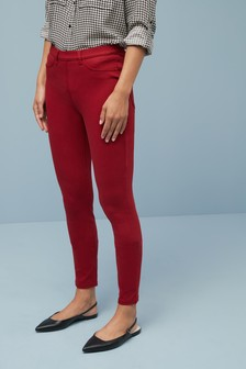 Dark Red Jersey Denim Leggings
