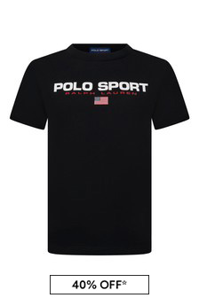 Boys Black Jersey Polo Sport T-Shirt