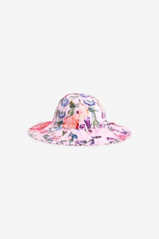 Pink Floral Wide Brim Hat (Younger)
