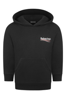 Boys Black Cotton Hooded Sweater