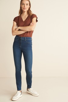 Dark Blue Super Stretch Soft Sculpt Fly Fasten Denim Leggings