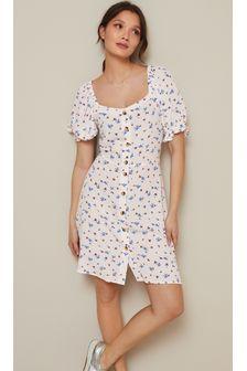 White Ditsy Button Front Mini Dress