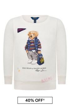 Girls Ivory Bear Sweater