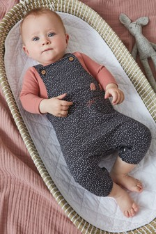Charcoal Cat Dungarees (0mths-2yrs)