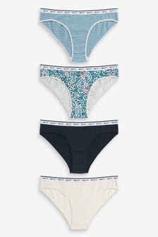 Blue/Animal Print Bikini Cotton Rich Logo Knickers Four Pack