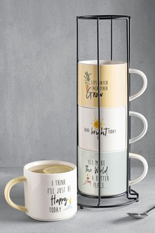 Set of 4 Stacking Mugs With Stand
