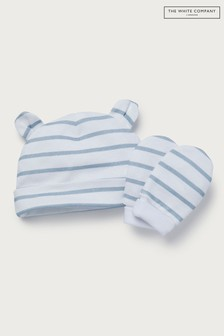 The White Company White/Blue Stripe Hat And Mitts Set