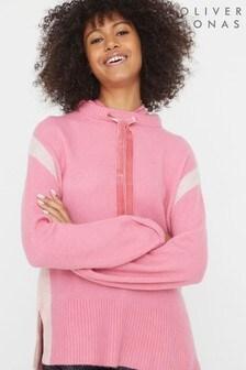 Oliver Bonas Pink Velvet Trim Super Soft Knitted Hoody