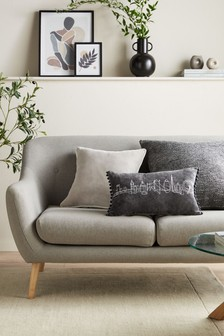 Charcoal Grey Soft Velour Graphic Rectangle Cushion