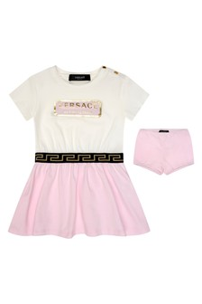 Baby Girls White & Pink Cotton Dress With Knickers