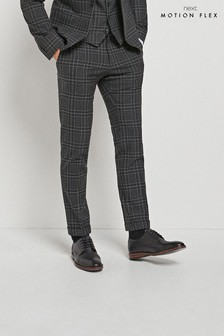 Black Skinny Fit Check Motionflex Suit: Trousers