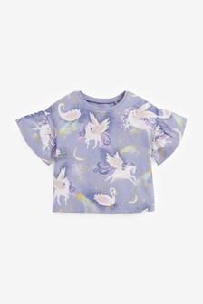 Blue Unicorn Frill Sleeve T-Shirt (3mths-7yrs)