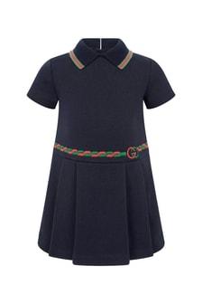 Baby Girls Navy Cotton Polo Dress