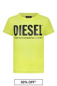 Boys Neon Yellow Cotton Logo Print T-Shirt