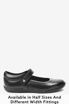 Black Wide Fit (G) Leather Junior Mary Jane Shoes