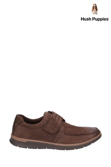 Hush Puppies Brown Duke Touch Fastening Shoes