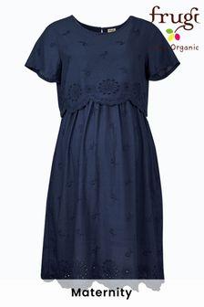 Frugi Navy Organic Cotton Maternity Breastfeeding Dress
