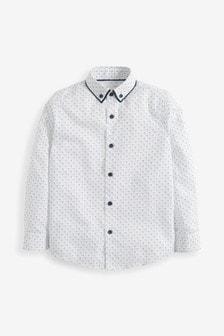 White Long Sleeve Printed Shirt (3-16yrs)