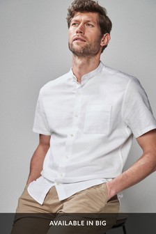 White Regular Fit Cotton/Linen Grandad Collar Shirt