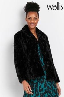 Wallis Black Faux Fur Coat