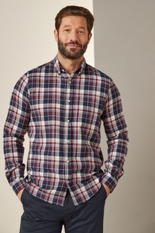 Navy/Burgundy Slim Fit Brushed Flannel Check Long Sleeve Shirt