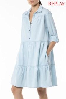 Replay Light Blue Chambray Denim Shirt Dress