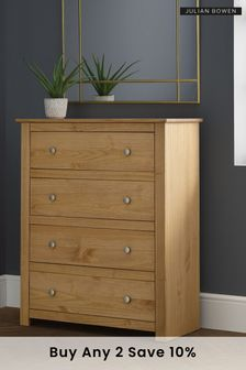 Julian Bowen Radley Waxed Pine 4 Drawer Chest