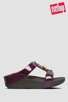 FitFlop™ Fino Embellished CrinklePatent Toe Post Sandals