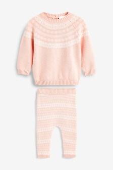 Pink Knitted Fairisle Pattern Jumper Set (0mths-2yrs)