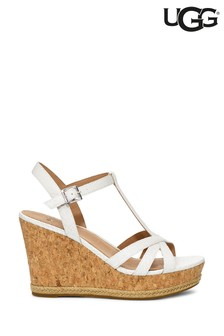 UGG® Melissa White Snake T-Bar Wedge Sandals