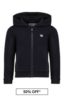 Boys Navy Zip Up Hoody