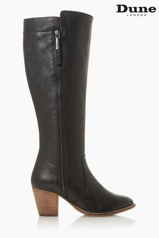 Dune London Tiana Black Western Block Heel Knee High Boots
